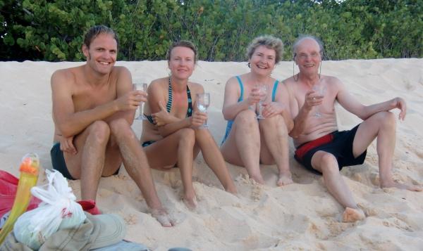 Weisswein am weissen Strand